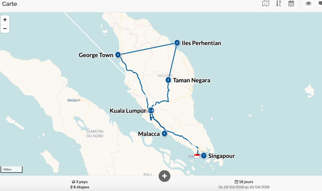 trajet malaisie - organisation